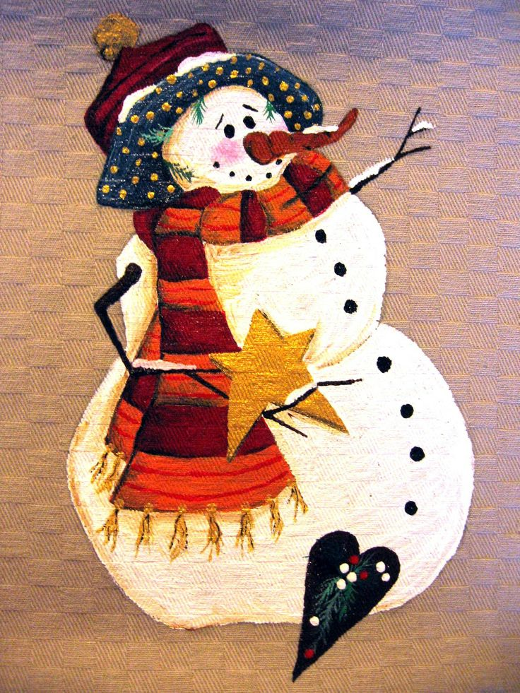 Natale country painting - pupazzo di neve con stella