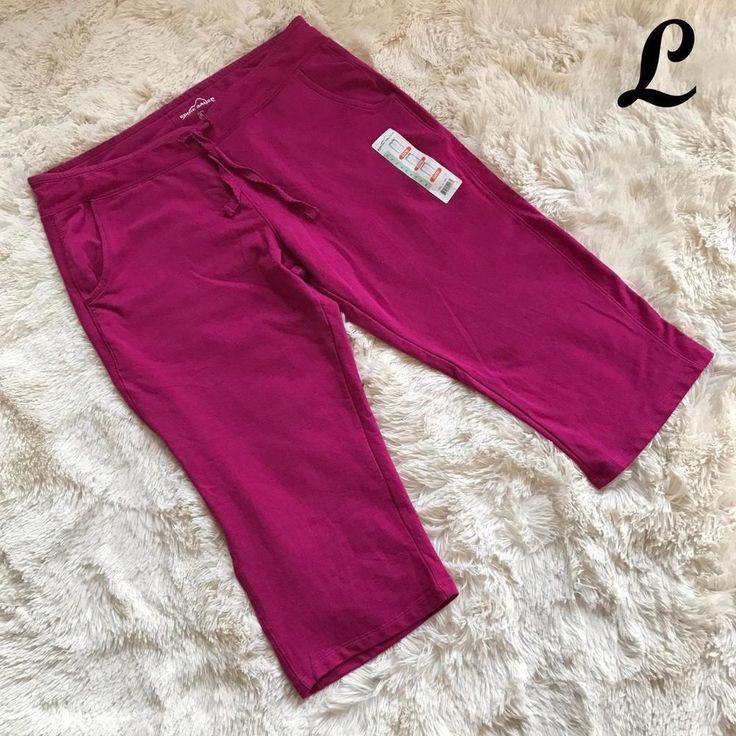Eddie Bauer Womens Capri Pants Sweats Stretch Cropped Orchid Pink Size XLarge XL #EddieBauer #TrackSweatPants
