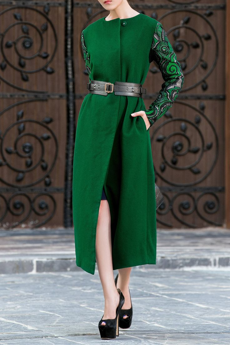 Wool Blend Embroidered Long Coat ==