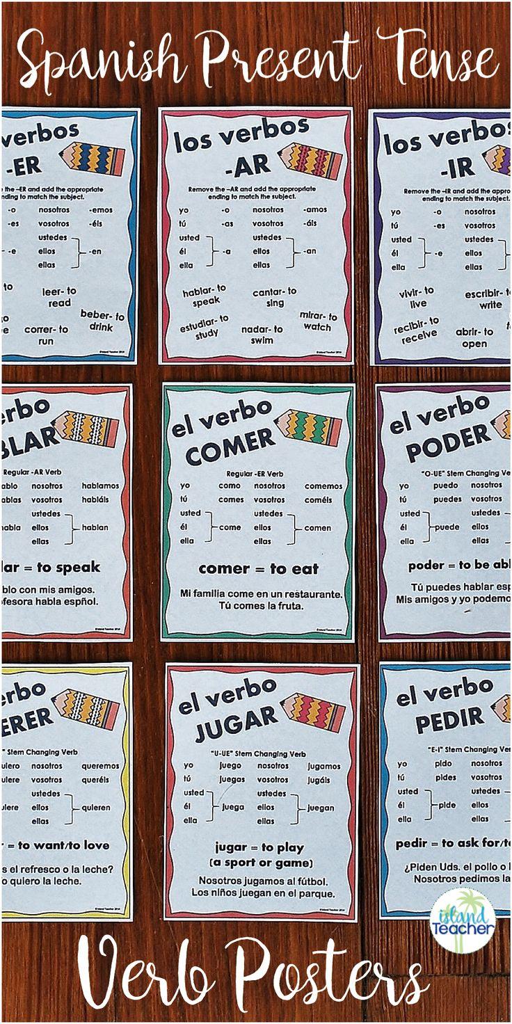 18 Spanish Present Tense Verb Posters.