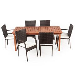 Buy Greenfingers Jersey 6 Rattan Armchair 180cm Wooden Rectangular Table Dining Set at Guaranteed Cheapest Prices with Rapid Delivery available now at Greenfingers.com, the UK's #1 Garden Furniture Store