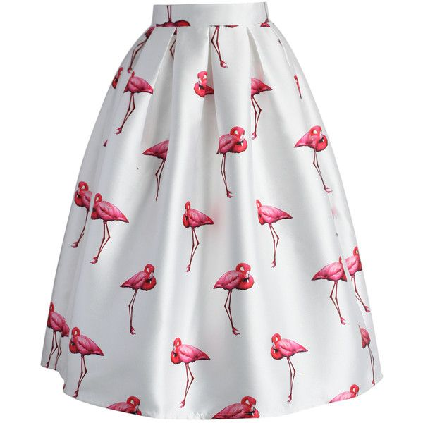 Chicwish Chic Flamingos Pleated A-line Skirt (575 ZAR) ❤ liked on Polyvore featuring skirts, bottoms, flamingo, white, white midi skirt, pleated skirt, a line midi skirt, flounce skirt and knee length pleated skirt
