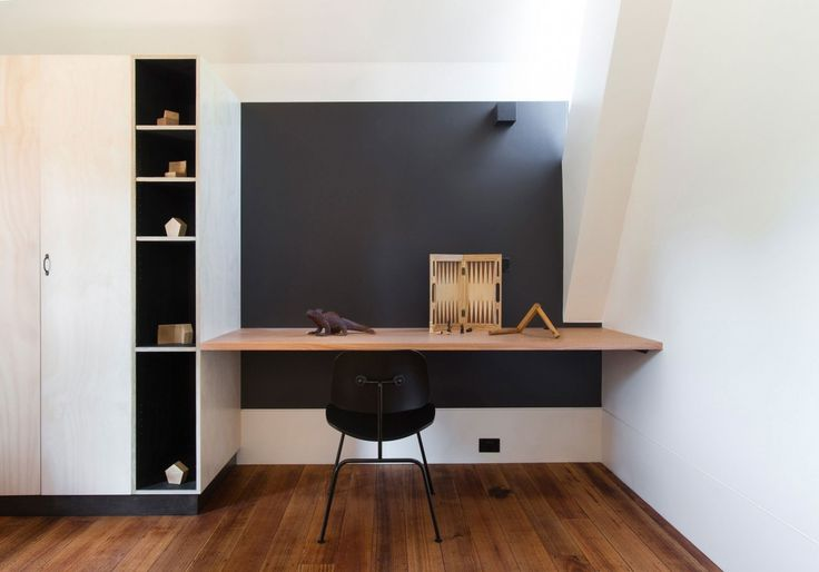 Minimalist Interior Study Room Design In The Stonewood Home Architecture With Magnificent Floating Wooden Study Desk Also Modern Wooden Cabinets Complete With The Storage And Modern Black Study Chairs Above The Wooden Floor