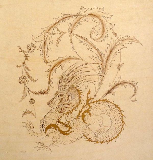 Ottoman Dragon I Fine pen and ink
