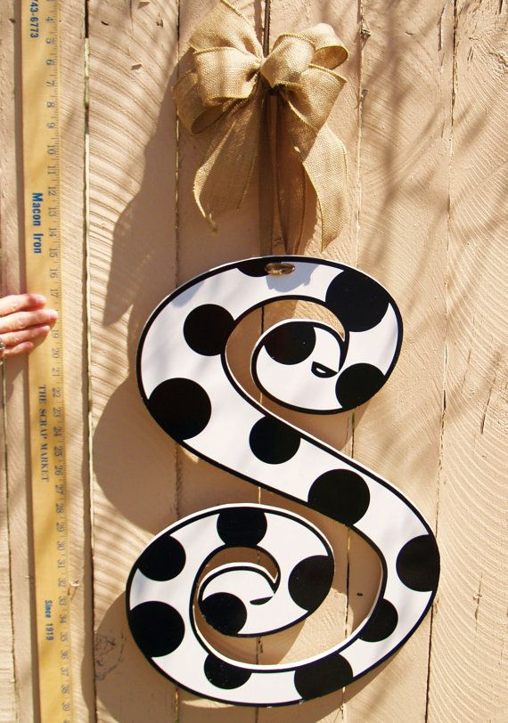 24 Curly Polka Dotted Door Monogram with Burlap Ribbon!
