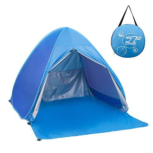 Elover Automatic Pop Up Beach Tent Outdoor Sun Shelter Shade Cabana for 2-3 Person  Auto Pop Up Beach Tent: Great sun shelter for beach trip and other outdoor activities. This pop up sun shade can shield your or your kids from the hot sun  Anti Uv Tent for Beach: The uv beach tent is made of 190T waterproof silver coated fabric. It can keep 90% Uv away from you and your kids and avoid getting sunburn  Beach Tent with Ventilation: The heavy duty frame keeps this beach shade steady in th...