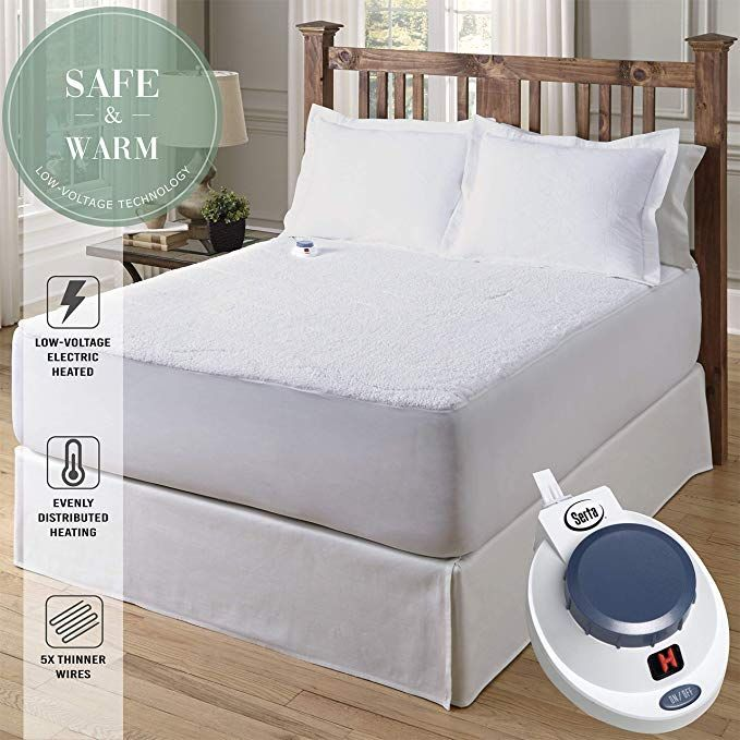 Serta Luxurious Sherpa Heated Electric Mattress Pad With Safe Electric Mattress Pad Mattress Mattress Pad