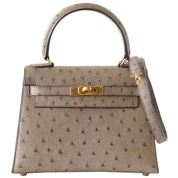 Hermes Kelly 20 bag Vintage Gray Ostrich Mini gold hardware mint ❤ liked on Polyvore featuring bags, handbags, mint purse, grey purse, vintage handbags, miniature handbags and vintage purses