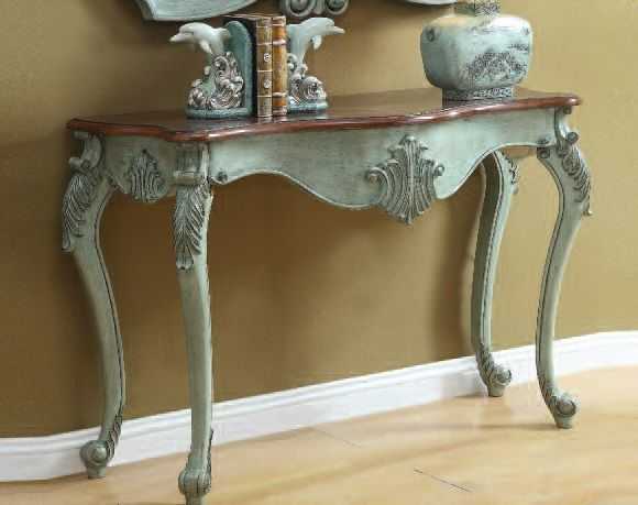Blade antique light blue wood console table sofa tables for Sofa table vintage