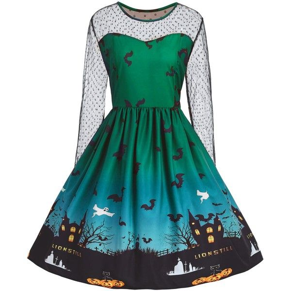 Green XL Vintage Halloween Pumpkin Castle Print Plus Size Dress ($17) ❤ liked on Polyvore featuring costumes, dresses, womens plus costumes, pumpkin costumes, plus size womens costumes, blue costumes and green halloween costumes