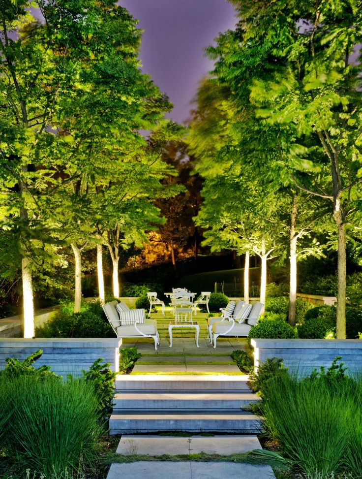 Garden with LED floodlights