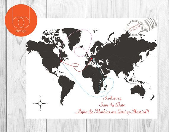 Save The Date Map Card by BethanDdesigns on Etsy