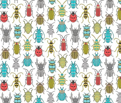 Beetles Insects Forest Bugs on White fabric by caja_design on Spoonflower - custom fabric