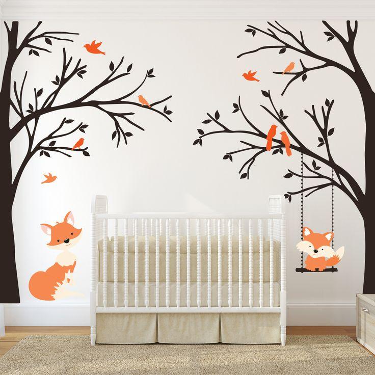 Corner trees wall decal orange fox