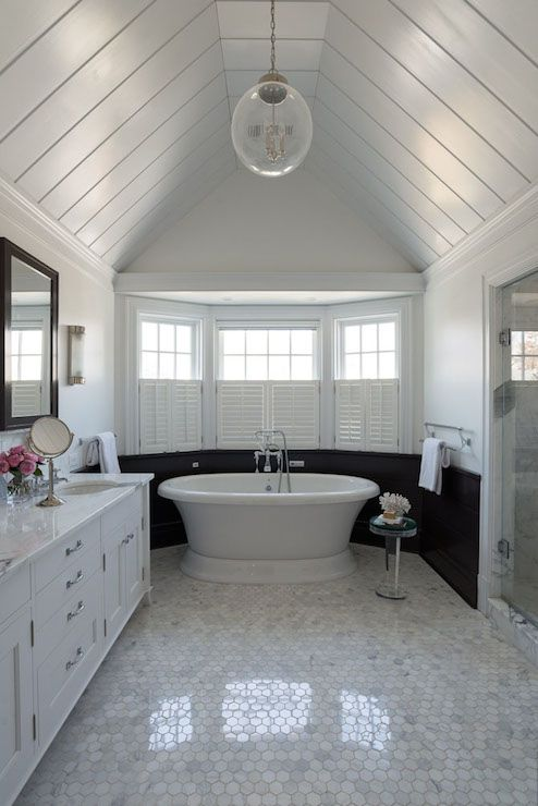 Alisberg Parker Architects - bathrooms - black and white walls, black wall panels, black tongue and groove, tongue and groove ceiling, black...