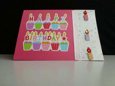 Birthday Card with cupcakes and 3D candles. - PeppyPaper