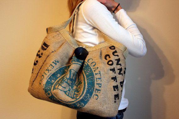 burlap coffee bag into a purse.. love it.