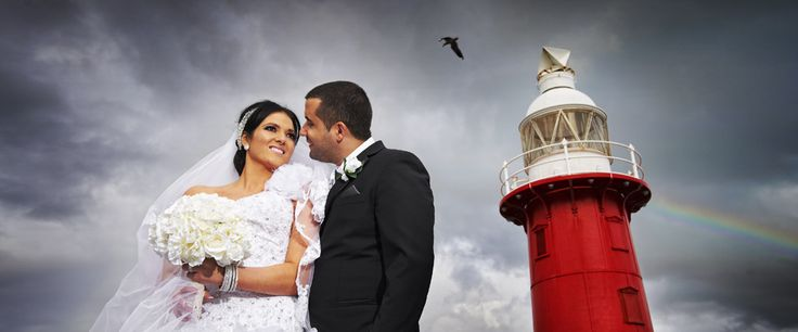 Love the red lighthouse in the background! #lighthouse #unique #wedding #photo #colourful #westernaustralia