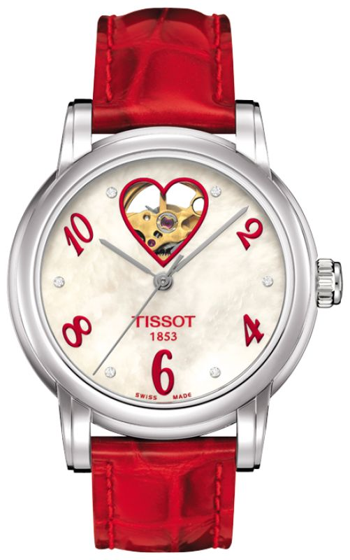 The Tissot Lady Hearts are filled with feminine charm – inside and out. The inner beauty, a fine automatic movement, is visible through a window on the lovely dial at the magical hour of twelve. Femininity finds further expression through details such as sparkling diamonds or studs on some models and elegant straps. These are perfect watches for graceful ladies willing to reveal a secret to those close to them.  Featured here with a red leather strap and a mother-of-pearl arabic dial with…