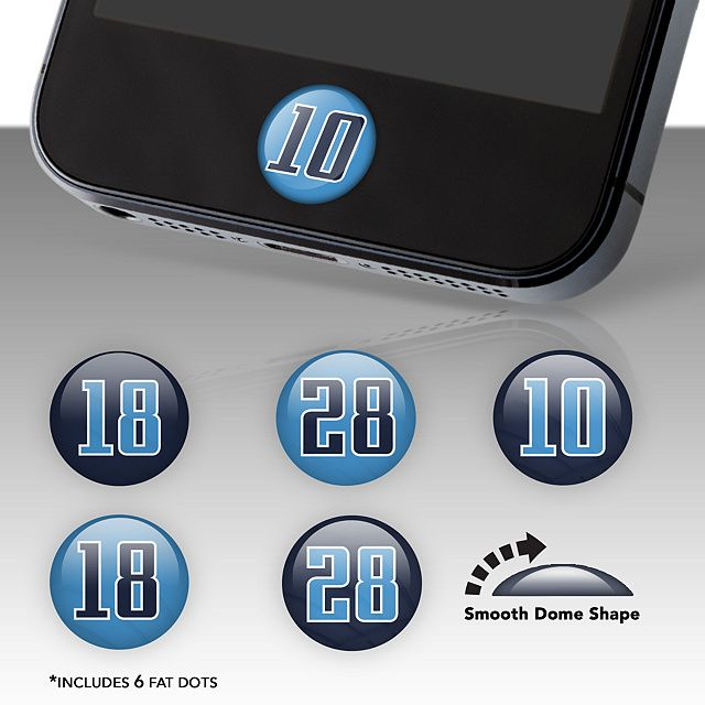 Tennessee Titans Player Number Fat Dots | Tennessee Titans Phone Accessories | Home Button Accessories