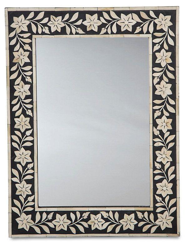 Gwendoline Accent Mirror, Black | Uptown Print Mix  | One Kings Lane