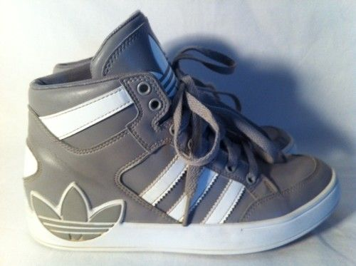 Adidas Ortholite High Top Youth Boys size 4.5 Gray & White