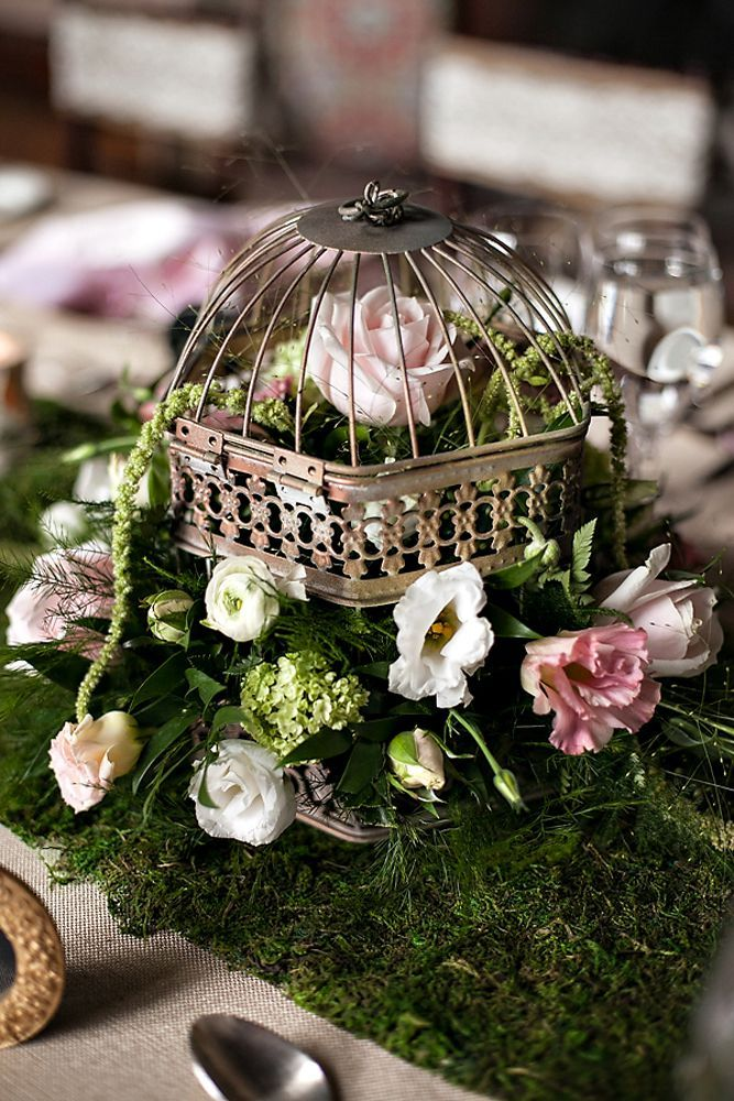 Birdcage centerpieces with flowers