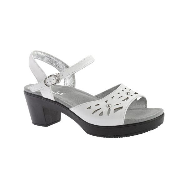 Women's Alegria by PG Lite Reese Ankle Strap Sandal ($60) ❤ liked on Polyvore featuring shoes, sandals, casual, casual shoes, adjustable strap sandals, leather strap sandals, alegria sandals, white leather shoes and white strappy sandals