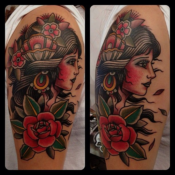 Ladyhead wrap around #matthouston #gastowntattoo #ladyhead #traditional #tattoos #bold