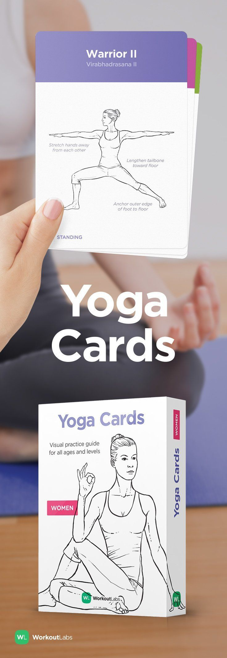Learn and practice yoga at home with YOGA CARDS –a simple visual guide with essential poses, breathing exercises and meditation. Visit http://WLShop.co