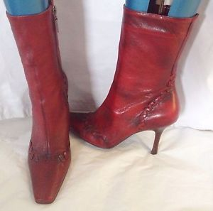 River Island Size 5 Ankle Boots Bewitched Wine Red Leather Design Detail