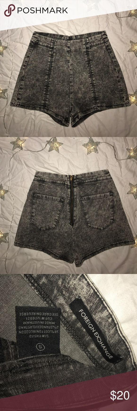 High waisted Shorts These dark acid wash shorts are very cute and unique with a zipper on the back! never worn and in fantastic condition! Foreign Exchange Shorts Jean Shorts
