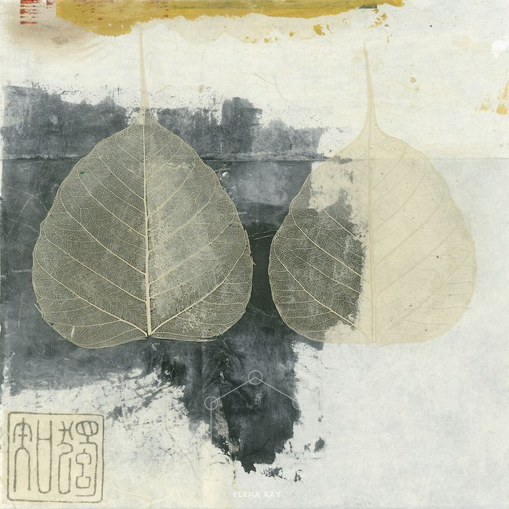 """Wabi-sabi Bodhi leaf collage.<br /> :::<br /> """"Beauty can be coaxed out of ugliness. Wabi-sabi is ambivalent about separating beauty from non-beauty or ugliness. The beauty of wabi-sabi is in one respect, the condition of coming to terms with what you consider ugly. Wabi-sabi suggests that beauty is a dynamic event that occurs between you and something else. Beauty can spontaneously occur at any moment given the proper circumstances, context, or point of view. Beauty is thus an altered state…"""