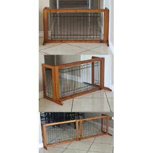 Amazon.com: Pet Fence Gate Free Standing Adjustable Dog Gate Indoor Solid  Wood Construction