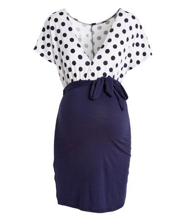 Look at this #zulilyfind! Hello Miz Navy & White Dot Maternity V-Neck Tunic #zulilyfinds