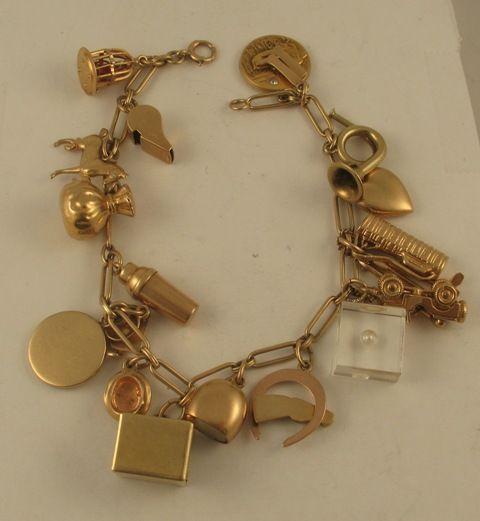 Vintage Tiffany & Co. Charms 14k Yellow Gold Charm Bracelet