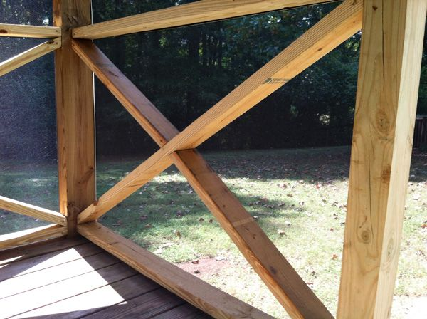 Railing X - I like this style for the screen in porch.
