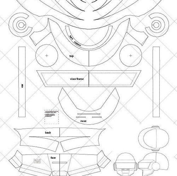 Daft Punk Thomas Helmet A4 Letter Size Pdf Template Ready To Print Daft Punk Daft Punk Helmet Punk