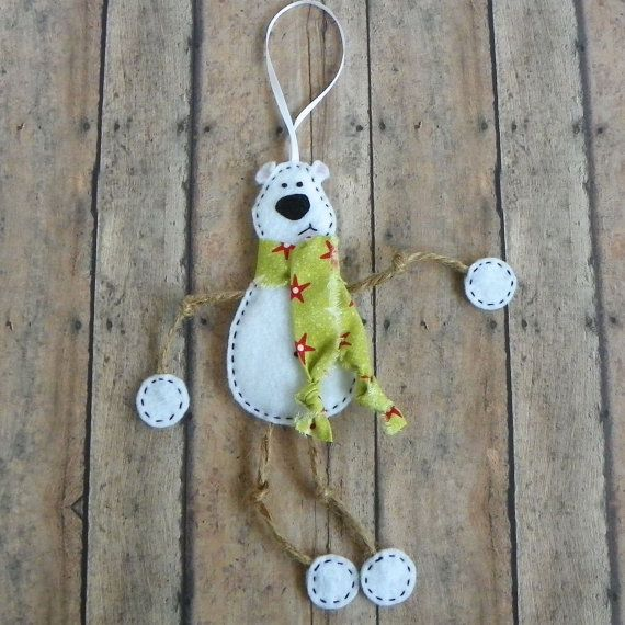 White Felt Polar Bear Christmas Ornament Mr. Polar by PaisleyMoose