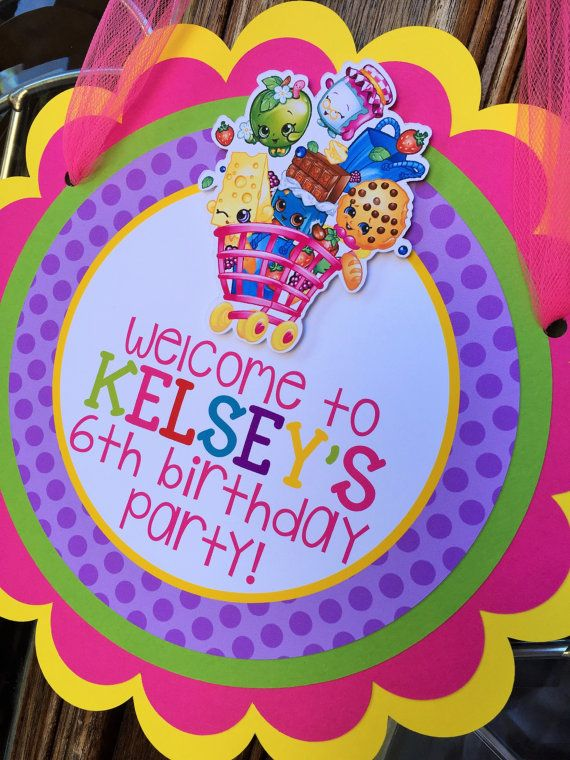 Shopkins Birthday Party Door Sign by sweetheartpartyshop on Etsy