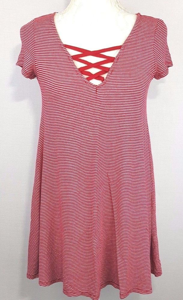 Heart Hips Womens Sleepwear Size Small red white striped Short Sleeve Stretchy #HeartHips #Sleep #Everyday