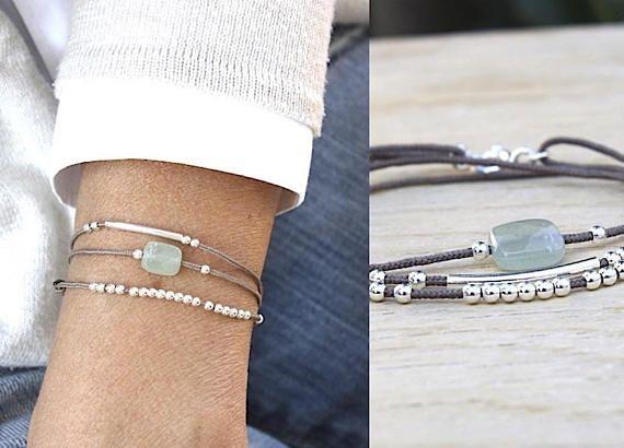 bracelet cordon triple tours aventurine jonc et perles en