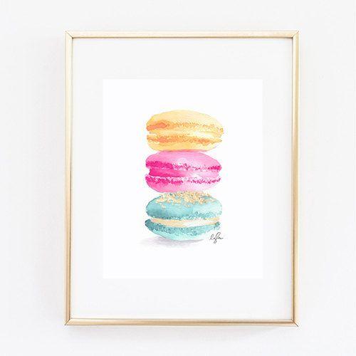 Macaroon Print, Gold Leaf - Watercolor, Les Trois Macarons