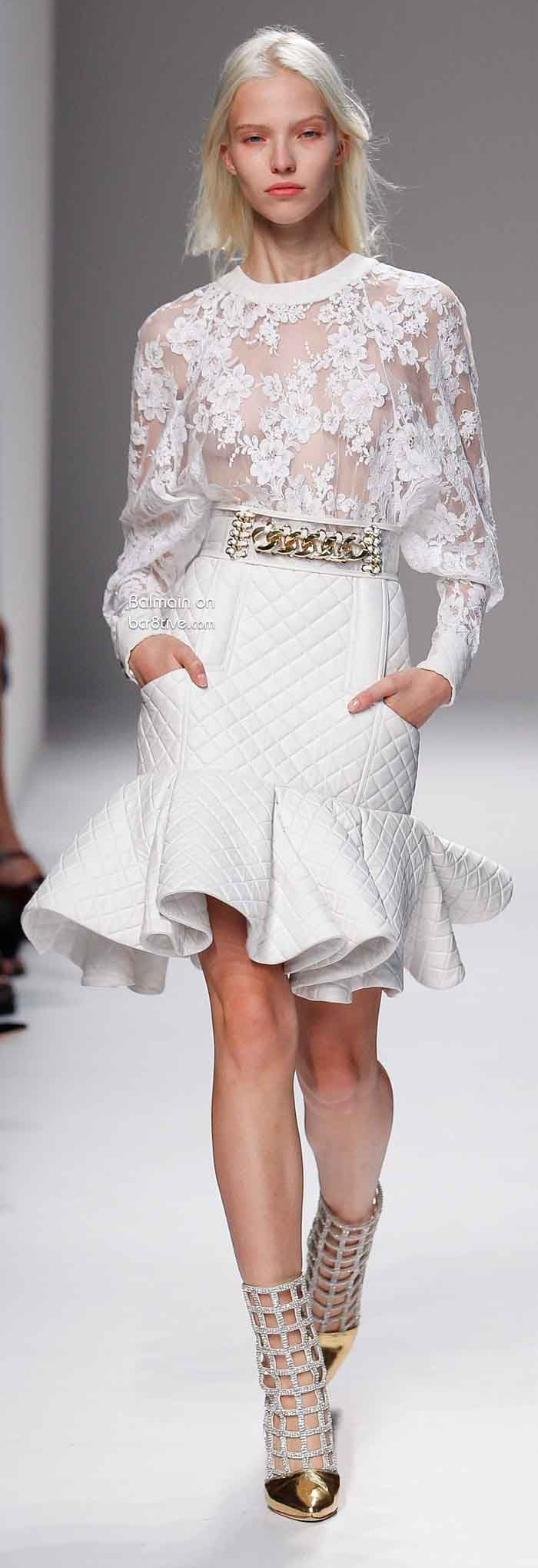 Ooh la la! Love the silhouette of the skirt and lovely feminine top (Balmain Spring 2014 Paris)