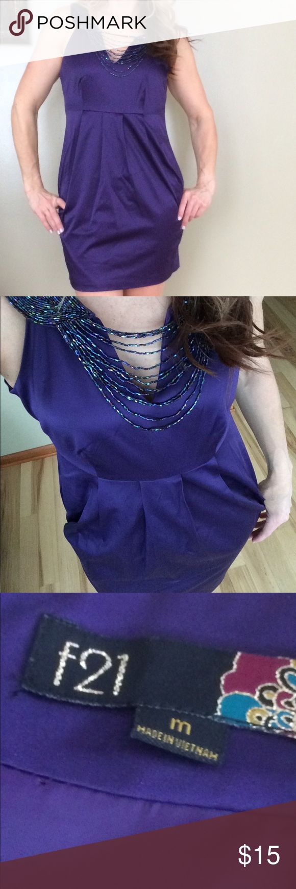 Cocktail dress Beaded satin cocktail dress.  Fun, easy to wear stunner. No size- best fits 6. EUC. Bought from another shop and never wore. Dresses Mini