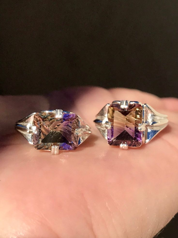 Ametrine Ring Sterling Silver ~ Horizontal East West ...