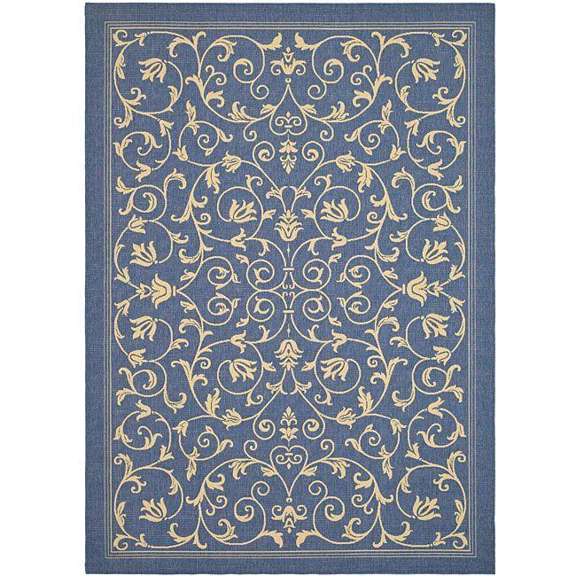 Safavieh Resorts Scrollwork Blue/ Natural Indoor/ Outdoor Rug (6u00277 X 9