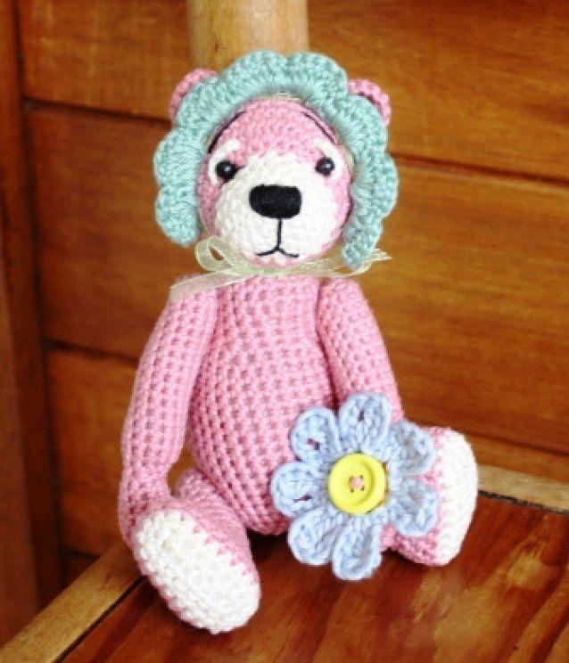 Daisy a mini Crochet bear 15cm SOLD