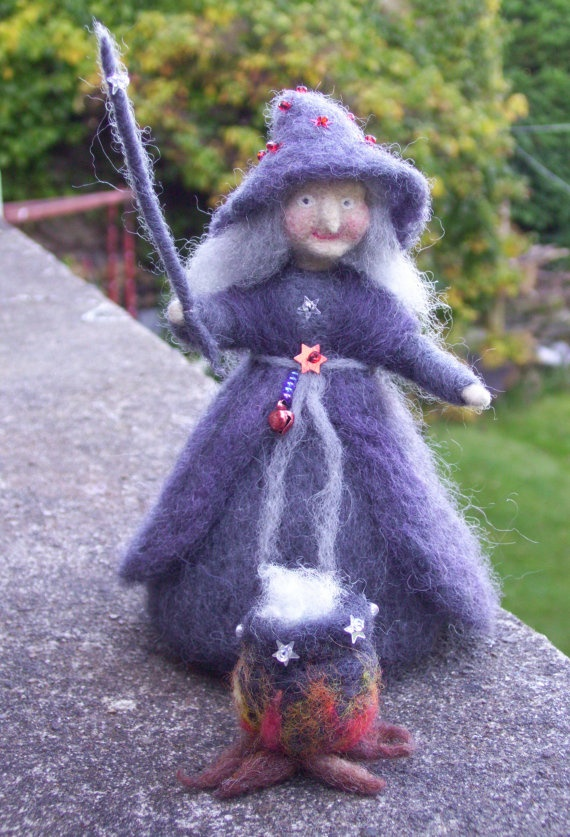 Needle Felted Halloween Witch Standing with her by careybrett, $40.00