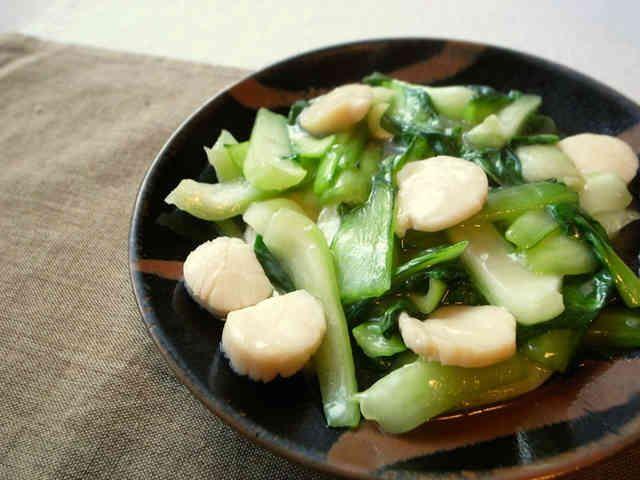 チンゲン菜とホタテの中華炒めの画像